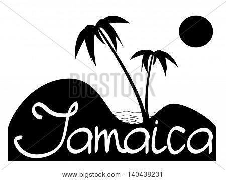 Jamaica - Vector Composition Witn Palms, Sand And Sea
