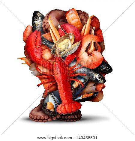 Seafood thinking concept as a group of shellfish crustacean and fish grouped together shaped as a human head or fishmonger symbol as a fresh meal from the ocean information with lobster steamed clams mussels shrimp octopus and sardines.