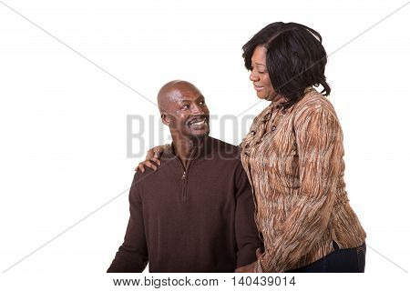 Portrait of a middle aged couple isolated on white