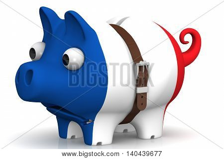 The crisis of the French economy. Tightened with a strap pig piggy bank with bulging eyes in the color of the French flag on a white surface. The concept of the economic crisis in France. Isolated. 3D Illustration