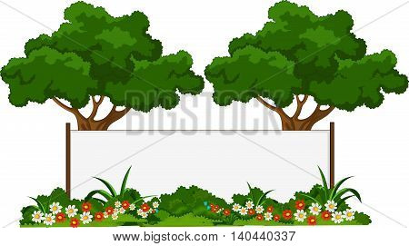 two green tree cartoon with blank sign