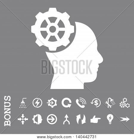 Head Gear vector icon. Image style is a flat iconic symbol, white color, gray background.