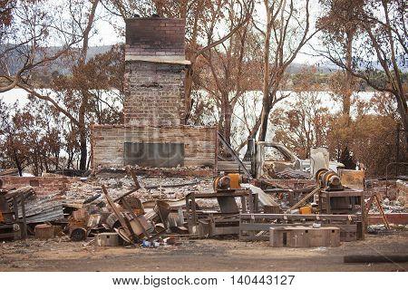 Ruins of a buildings in Dunalley, Tasmania, destroyed by bushfire
