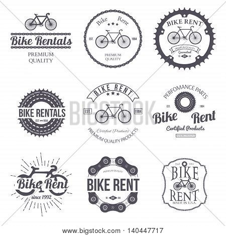 Bike rent. Set of vintage, modern and retro logo, badges and labels. Vector illustration