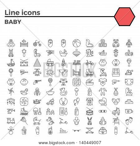 Baby thin line related icons set on white background. Simple mono linear pictogram pack Stroke vector logo concept for web graphics.