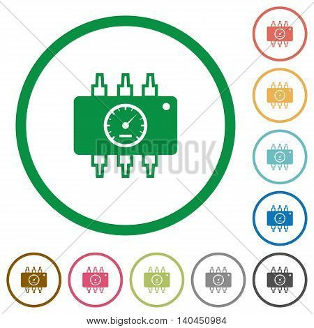 Set of Chip tuning color round outlined flat icons on white background