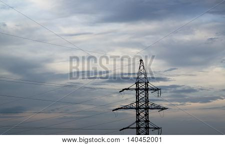 Power line, electric lines, electrical line at sunset, electricty, power grid, high voltage, iron pole