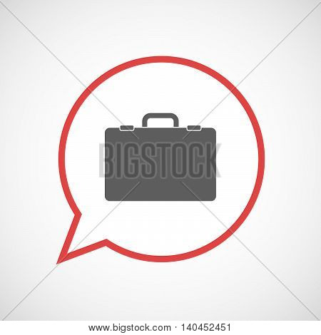 Isolated Comic Balloon Line Art Icon With  A Briefcase