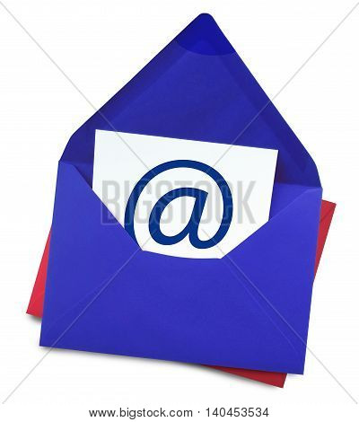 E-Mail, blue envelope with web adress symbol, isolated on white.