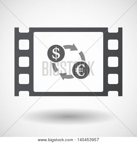 Isolated 35Mm Film Frame With A Dollar Euro Exchange Sign