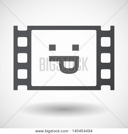 Isolated 35Mm Film Frame With A Sticking Out Tongue Text Face