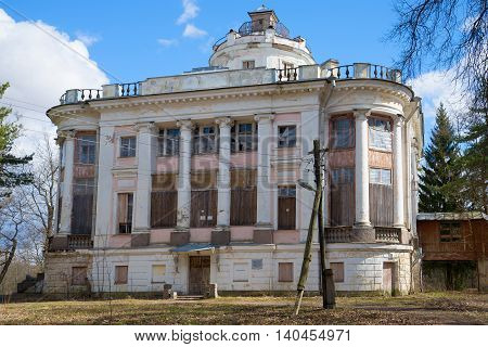 LENINGRAD REGION, RUSSIA - APRIL 24, 2016: The building of the family estate of the Demidovs, sunny april day. Historical landmark of the Taytsy, Leningrad region, Russia
