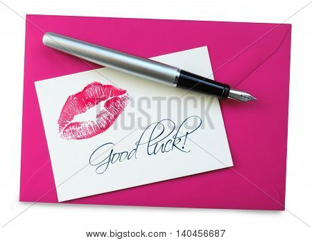 good luck card with lipstick kiss, isolated on white