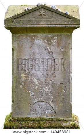 Old tombstone with copy space. Blank grave or tombstone.