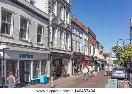 Bury St Edmunds/UK. 18th July 2016. An old street with mixed retail and food establishments close to the Abbey Gardens.