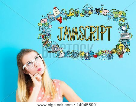 Javascript Concept With Young Woman