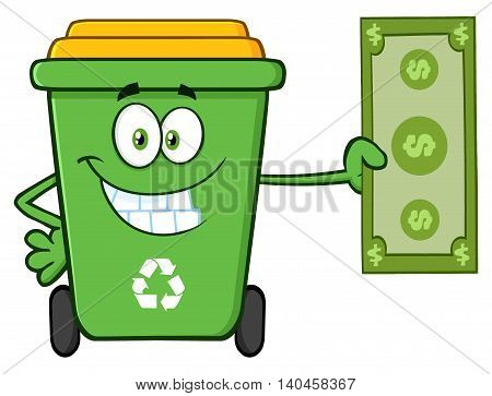 Smiling Green Recycle Bin Cartoon Mascot Character Holding A Dollar Bill. Illustration Isolated On White Background