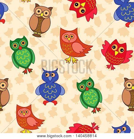 Amusing colourful owls on the background with many stylized simple owls seamless vector pattern