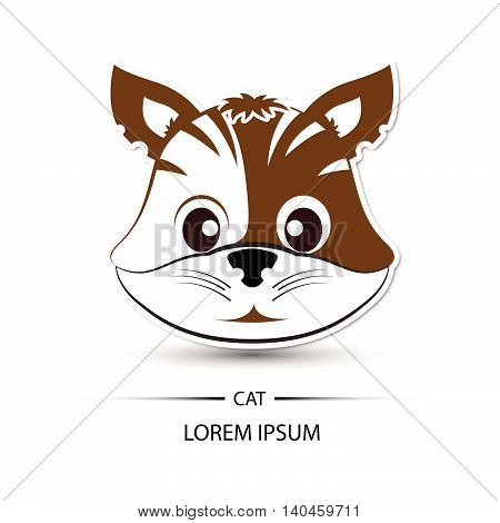 Cat Face Beatific Smile Logo And White Background Vector Illustration