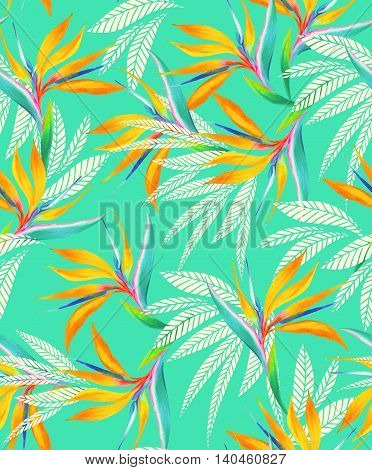 seamless turqouise floral pattern with watercolor flowers and silhouettes. Trendy coloring and elelements.