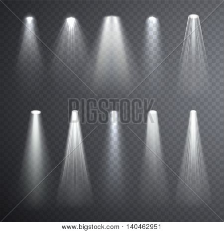 Bright white light beam. Glowing light effects isolated on checkered transparent background. Set of spotlights lighting.