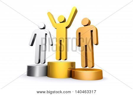 3D render gold silver and bronze empty podium on white background.
