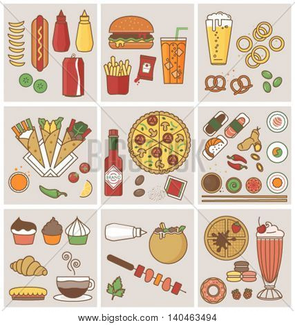 FOOD AND DRINK FLAT ICONS DESIGN. Can use for print projects, branding, restaurants, web, applications