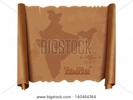 Vintage map of India on an old dilapidated parchment. Wheel with 24 spokes - India symbol stylized map of India and wind rose. Vector illustration isolated on white background