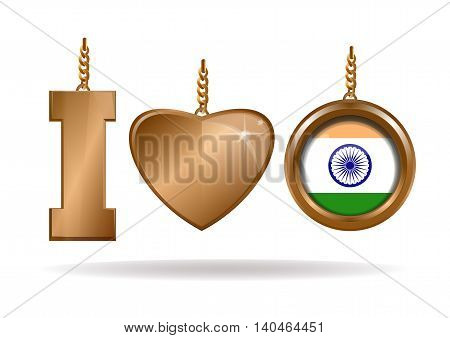 I love India. Patriotic jewelry. Gold diamond heart in a gold frame. Gold medallion with the Indian flag inside. Vector illustration