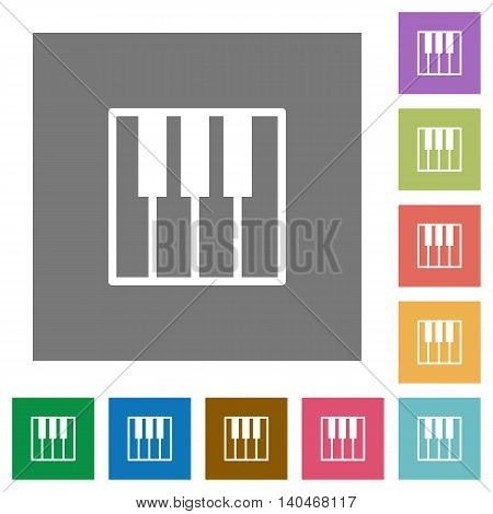 Piano keyboard flat icon set on color square background.