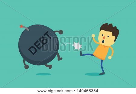 Man kick debt bomb away from his body. This illustration is concept about pay off debt