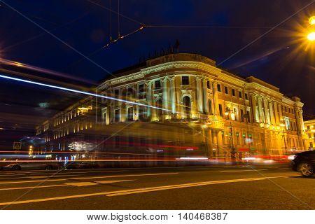 night Nevskiy Prospekt in Saint-Petersburg, Russia, Avenue