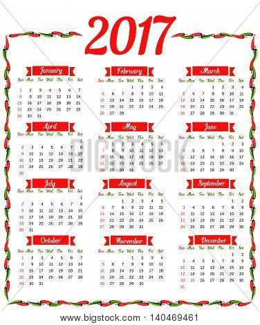 2017 Calendar. Vector & Photo (Free Trial) | Bigstock