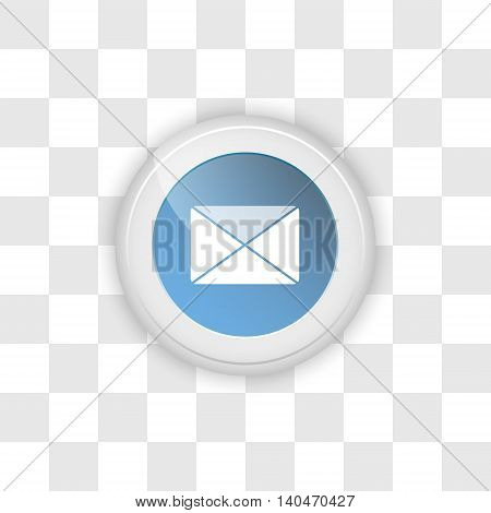 Web button envelope or email on a transparent vector background.