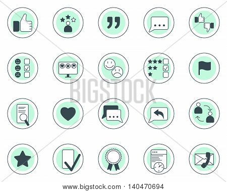 Set of testimonials and feedback vector two colored icons in thin lina style.
