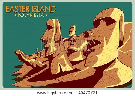 Vintage poster of Easter Island, famous monument in Chile. Vector illustration
