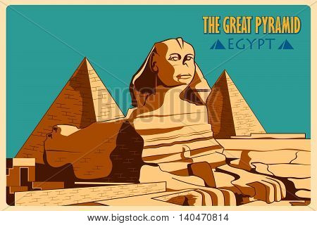 Vintage poster of Sphinx and Pyramids in Giza famous monument of Egypt. Vector illustration