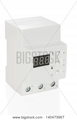 Electronic voltage relay with dial isolated on white background
