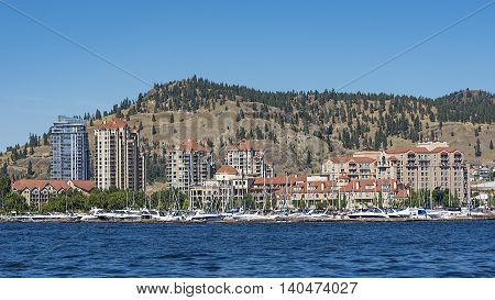 Kelowna Skyline from Okanagan Lake on a sunny summer day Kelowna British Columbia Canada