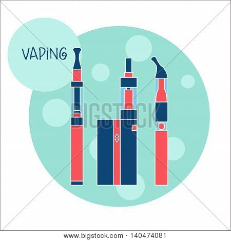 Vaping e-cigarette devices. Vector illustration of equipment for vaping trendy subculture in flat style. E-cig consists of battery atomizer liquid of different flavors.