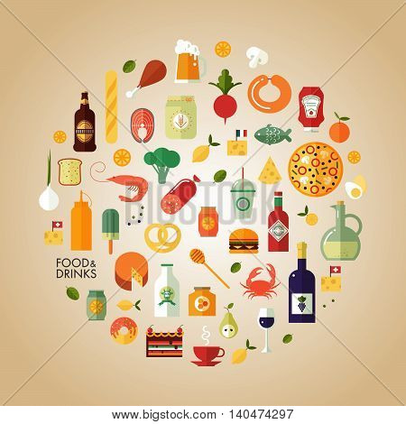 Flat design style modern vector illustration food and drink icon set. Tasty food meals drinks confection seafood vegetables and fruits.