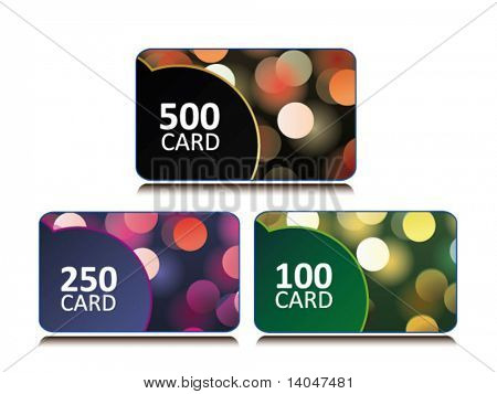 set of bonus and gift card with glittering bokeh background