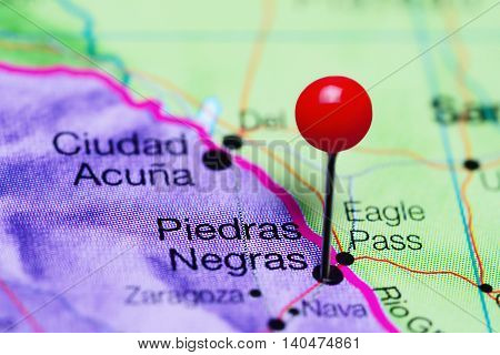 Piedras Negras pinned on a map of Mexico