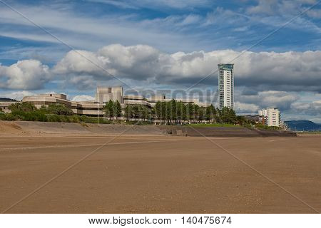 Swansea Bay showing the County Hall and Meridian tower, tallest building in Wales.
