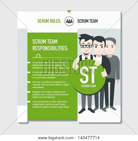 Scrum roles - Scrum team responsibilities template in scrum development process on light grey background
