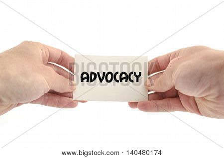 Advocacy text concept isolated over white background