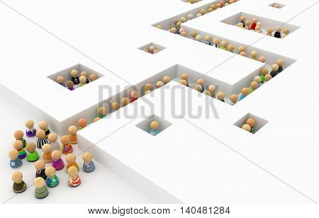 Crowd of small symbolic figures white corridor 3d illustration horizontal