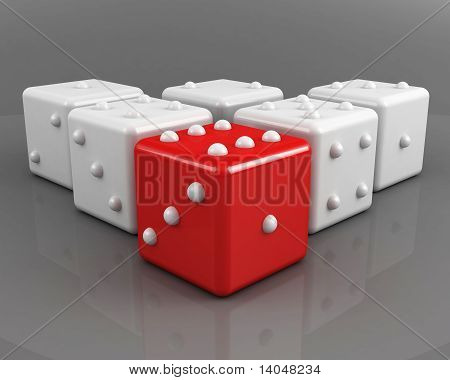 dices leadership concept on the grey background poster