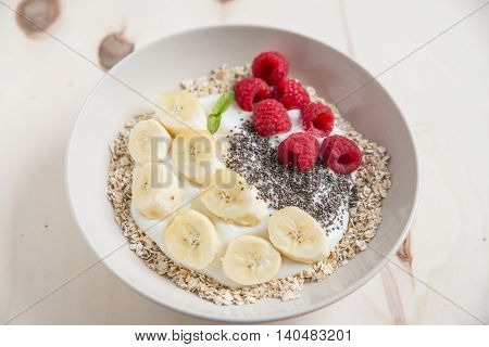 yogurt with banana, raspberries and chia seeds