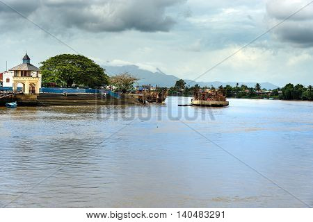 Construction Of The Golden Bridge On The Sarawak River In Kuching